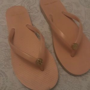 Tory Burch light pink flip flops